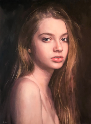 """NEW WILLIAM OXER ORIGINAL """"Shepherdess"""" Pretty nude young Woman Girl PAINTING"""