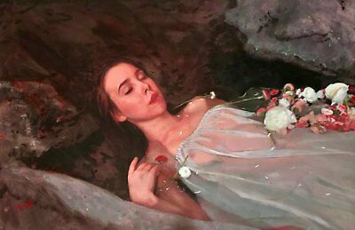 WILLIAM OXER ORIGINAL Ophelia Pretty pre raphaelite young Woman Girl PAINTING
