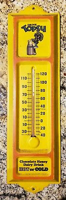Vintage Topsy Metal Thermometer