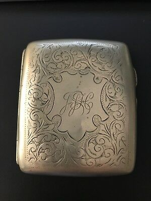 Vintage E P N S Monogramed Deco Cigarette Case Holder Antique