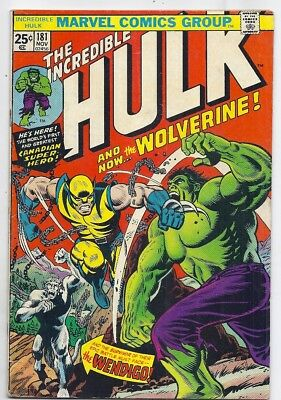 (1974) Incredible Hulk #181 First Full Appearance Of Wolverine! No Reserve!!!