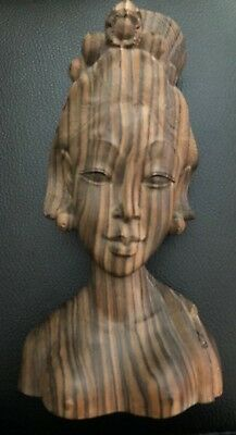 Nude Wood Carved Sculpture Bust Woman Asian  Figure Tribal Vintage