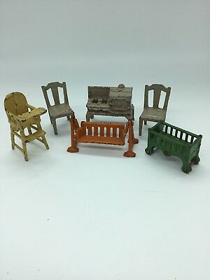 Lot of 6 Vintage Cast Iron Doll Furniture - Oven, Chairs, Crib, High Chair Swing