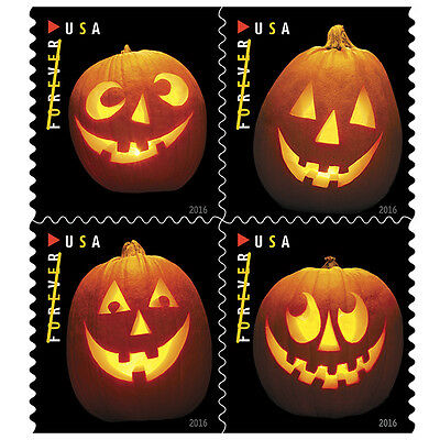 Scott #5137-40  Jack O'Lanterns Booklet (Block of 4 - BCA) 2016 Mint NH