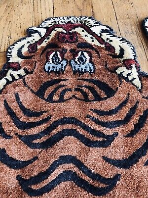 Antique Tibetan Chinese Tibet Tiger Rug