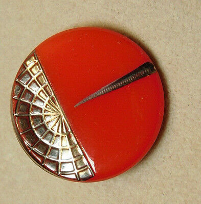 Antique~ Vtg Glass Button French Ornate Silver Red Art Deco L@@K#98