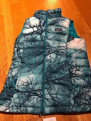 Patagonia Girls/Kids XL Size 14 Down Sweater Vest pattern moontree deep sea blue