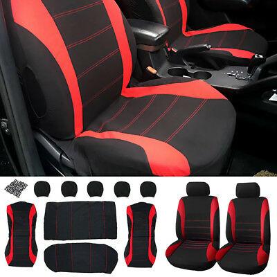 9PCs Universal Car Seat Full Covers Set Front&Rear Seat Back Head Rest Protector