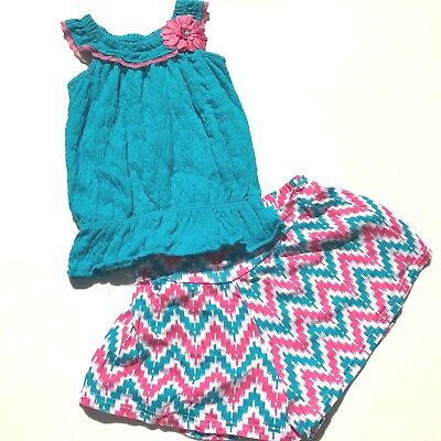 Nannette Girl Outfit Tank Top Blouse with Shorts Blue Pink Flowers Size 6X