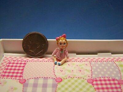 1:12 Scale Dollhouse, Tiny Girl Doll, Almost 1 Inch Tall