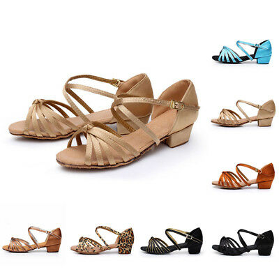 Women Dance Shoes Girl Lady Latin Heeled Salsa Sandals Open Toe Professional