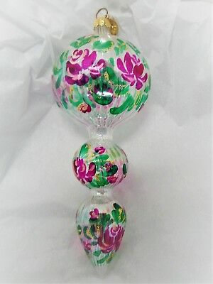 Christopher Radko X-Large Clear Drop Christmas Ornament W/ Hand Painted Florals