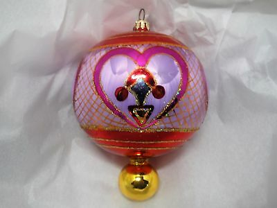 Christopher Radko X-Large  Ball Drop Christmas Ornament W/ Hand Painted Hearts
