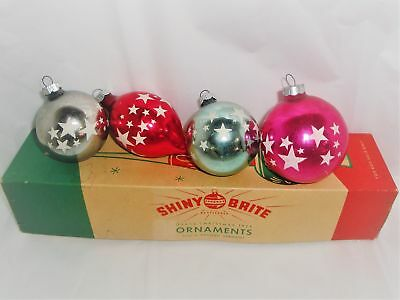 Red, White & Blue Stars-Vintage Shiny Brite Triple Indent Christmas Tree Topper