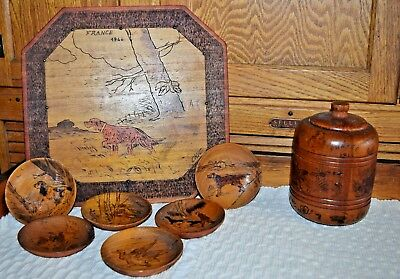WWII Wooden Trench Art Carving 1944 France Treenware Jar Tray Plates Hunting Dog
