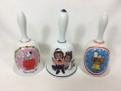 Three Children Character Bells  Raggedy Ann & Andy and Snoopy