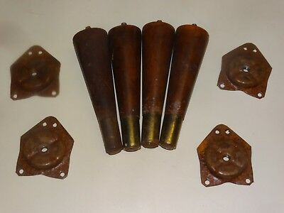 Set Four Vintage Mid-Century Modern Wooden Furniture Legs Danish Era