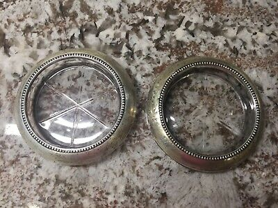 Vintage Frank M. Whiting & Co. Pending Sterling Silver & Glass Coasters
