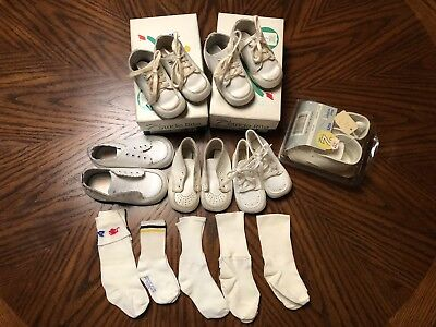 Lot of Vintage Baby Toddler Shoes 6 Pair Leather Stride Rite & Socks