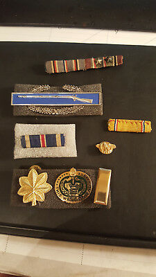 WW2 US insignia group Europe  rank and ribbons in sterling