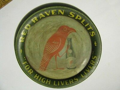 ca1910 RED RAVEN SPLITS HANGOVER CURE TIN LITHO ADVERTISING TIP TRAY CHANGE TRAY