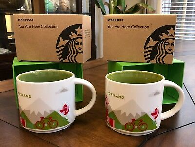 2 Starbucks Portland You are Here YAH Collector Mugs ~ 14 Oz in Boxes