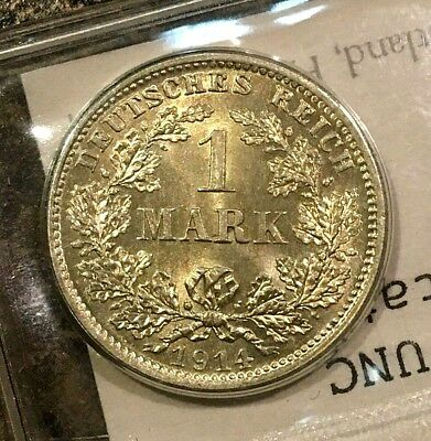 1914-D GERMAN GERMANY SILVER ONE 1 MARK BU MS UNC CHOICE Uncirculated Flashy