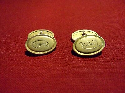 Rare Antique Krementz Plate Double Sided Cuff Links monogrammed