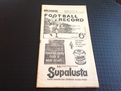 1961 Football Record Melbourne v Collingwood