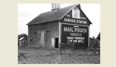 1938 Mail Pouch Tobacco Barn PHOTO Sign, OHIO, Vintage Chewing Advertisement