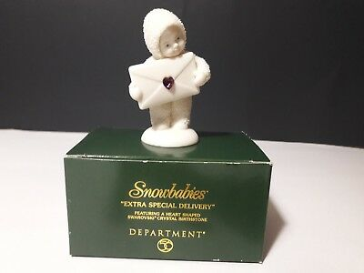 "Department 56 Snowbabies ""Extra Special Delivery"" Birthstones Amethyst February"
