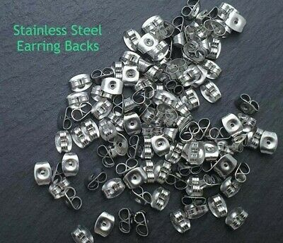50x Stainless Steel Earring Backs Nuts - 6x4mm Hypoallergenic Butterfly Stopper