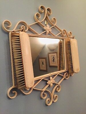 Lovely Mid Century Hall Mirror Scrolled Wrought Iron Cream Enamel Backed Brushes