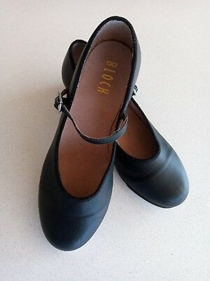 Womens Black Leather Tap Shoes BLOCH Size 8 Excellent Condition
