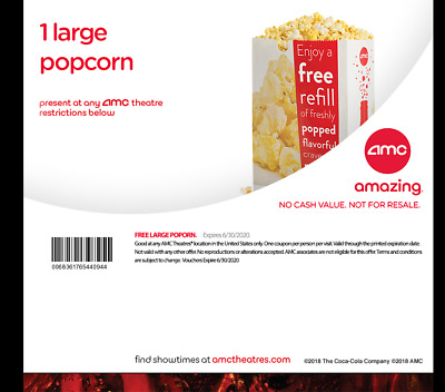 AMC 1 Large Popcorn (Expires June 30, 2020)