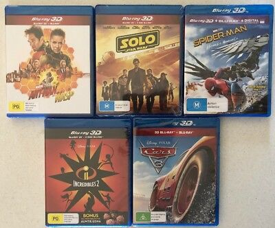 Bulk 5x New 3D Blu-Rays Ant-Man And The Wasp, Solo A Star Wars Story, Spider-Man