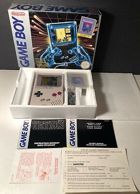 **Rare Tetris On Box** Original Nintendo Game Boy DMG-01 Gray Handheld System