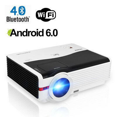 Android WIFI Home Theater Projector Bluetooth Netflix Kodi Movie Airplay HD1080P