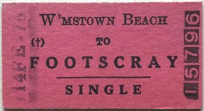 VR Ticket - WILLIAMSTOWN BEACH to FOOTSCRAY - 1976 Single