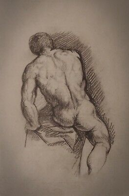 Study of a male figure Old European Master Brown chalk on laid paper