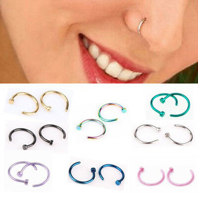 Surgical Steel Open Nose Ring Hoop Lip Ring Small Thin Piercing 9 Colour 3 Size