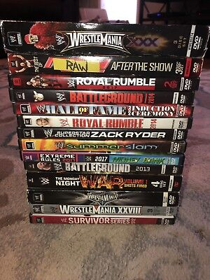 Lot of 14 WWE WWF Wrestling DVD's Summerslam Wrestlemania Royal Rumble