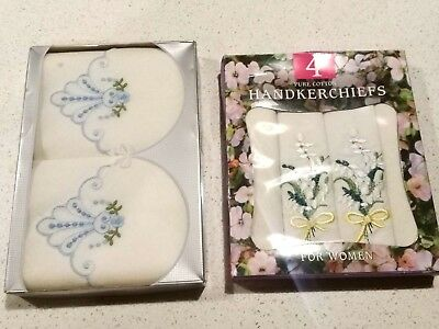 6 No. LADIES EMBROIDERED HANDKERCHIEFS COTTON in 2 Boxes