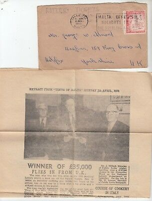 Malta Govt Lottery Tickst 11 consecutive numbers & App form and envelope 1958