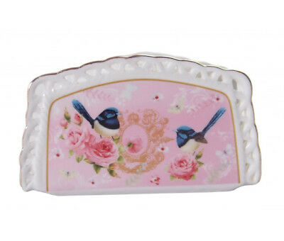French Country Chic Fine China Kitchen PINK BLUE WREN Napkin Holder New