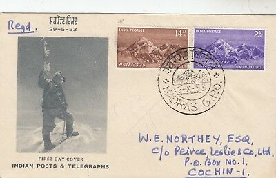India 1953 Mount Everest Illustrated 1st Day Cover