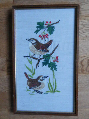 Vintage Framed Hand-Embroidered Pictures Birds