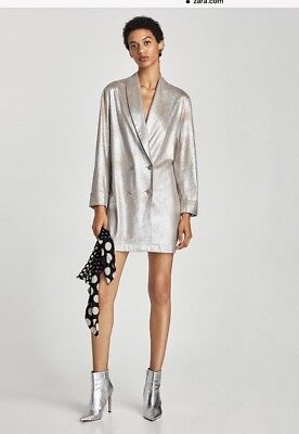 Zara Metallic Faux Suede Coat Jacket With Lapels Sz M, Also, Xs