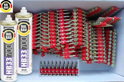 1000 PINS ø2.8x22mm NAILS with 2 Fuel Cell Gas for SPIT PULSA 700