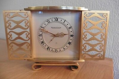 RARE VINTAGE 1950s JEAGER LeCOULTRE 8 DAY DESK CLOCK WITH SLIDING FRONT DOORS